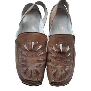 Rieker 39 Women's Slip On Shoes Brown Tan Leather